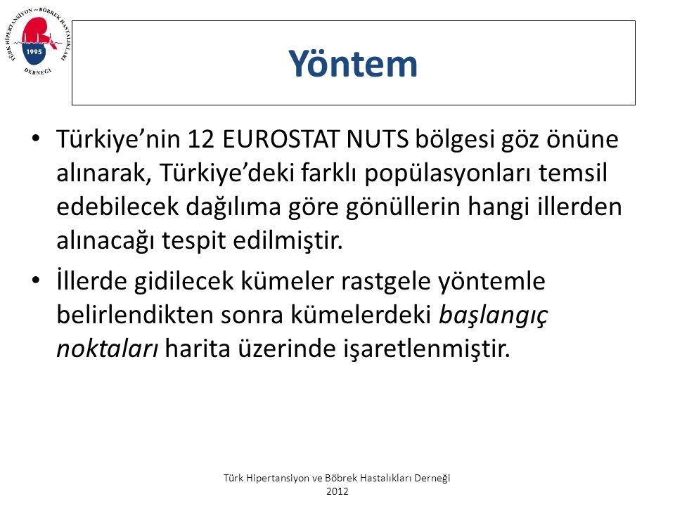 Türk Hipertansiyon ve Böbrek Hastalıkları Derneği 2012 Yöntem Türkiye'nin 12 EUROSTAT NUTS bölgesi göz önüne alınarak, Türkiye'deki farklı popülasyonları temsil edebilecek dağılıma göre gönüllerin hangi illerden alınacağı tespit edilmiştir.