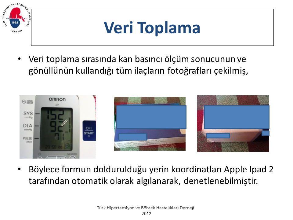 Türk Hipertansiyon ve Böbrek Hastalıkları Derneği 2012 Veri Toplama Veri toplama sırasında kan basıncı ölçüm sonucunun ve gönüllünün kullandığı tüm il