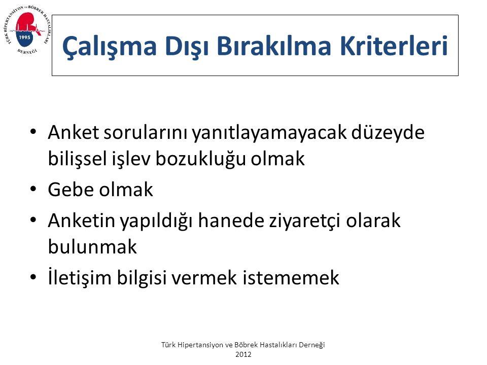 Türk Hipertansiyon ve Böbrek Hastalıkları Derneği 2012 Çalışma Dışı Bırakılma Kriterleri Anket sorularını yanıtlayamayacak düzeyde bilişsel işlev bozukluğu olmak Gebe olmak Anketin yapıldığı hanede ziyaretçi olarak bulunmak İletişim bilgisi vermek istememek