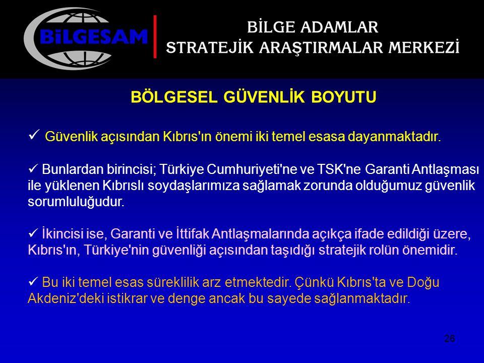 BÖLGESEL GÜVENLİK BOYUTU Güvenlik açısından Kıbrıs'ın önemi iki temel esasa dayanmaktadır. Bunlardan birincisi; Türkiye Cumhuriyeti'ne ve TSK'ne Garan