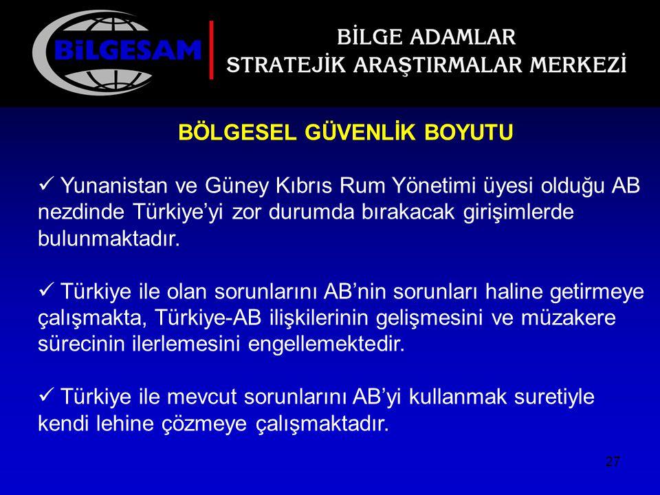 BÖLGESEL GÜVENLİK BOYUTU Yunanistan ve Güney Kıbrıs Rum Yönetimi üyesi olduğu AB nezdinde Türkiye'yi zor durumda bırakacak girişimlerde bulunmaktadır.