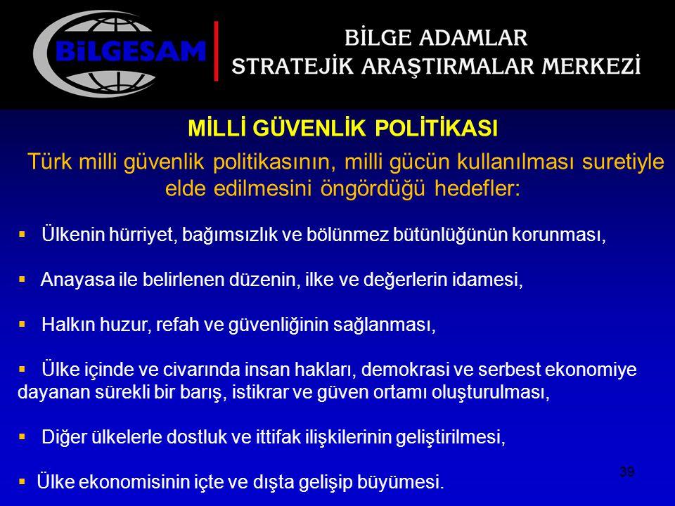 MİLLİ GÜVENLİK POLİTİKASI Türk milli güvenlik politikasının, milli gücün kullanılması suretiyle elde edilmesini öngördüğü hedefler:  Ülkenin hürriyet