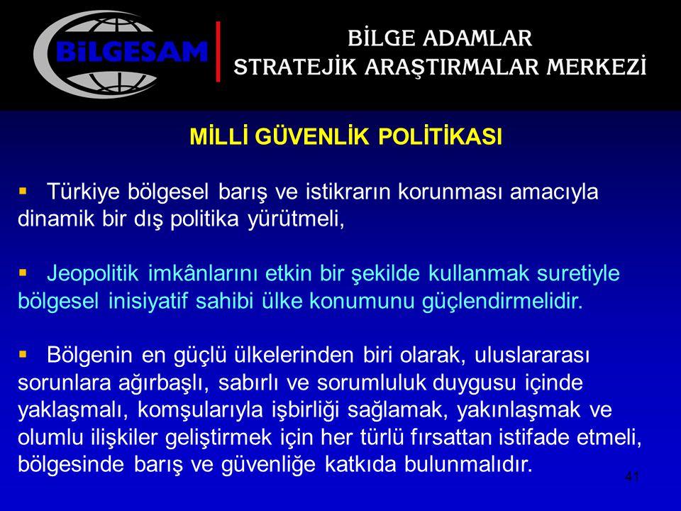MİLLİ GÜVENLİK POLİTİKASI  Türkiye bölgesel barış ve istikrarın korunması amacıyla dinamik bir dış politika yürütmeli,  Jeopolitik imkânlarını etkin