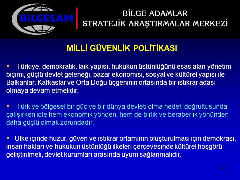MİLLİ GÜVENLİK POLİTİKASI  Türkiye, demokratik, laik yapısı, hukukun üstünlüğünü esas alan yönetim biçimi, güçlü devlet geleneği, pazar ekonomisi, so