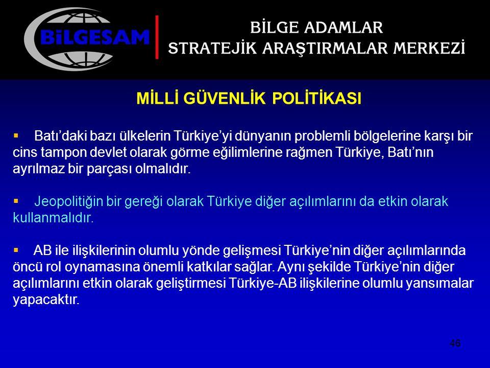 MİLLİ GÜVENLİK POLİTİKASI  Batı'daki bazı ülkelerin Türkiye'yi dünyanın problemli bölgelerine karşı bir cins tampon devlet olarak görme eğilimlerine
