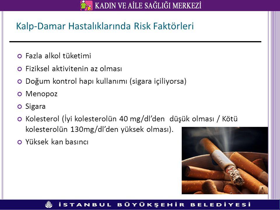 Fazla alkol tüketimi Fiziksel aktivitenin az olması Doğum kontrol hapı kullanımı (sigara içiliyorsa) Menopoz Sigara Kolesterol (İyi kolesterolün 40 mg