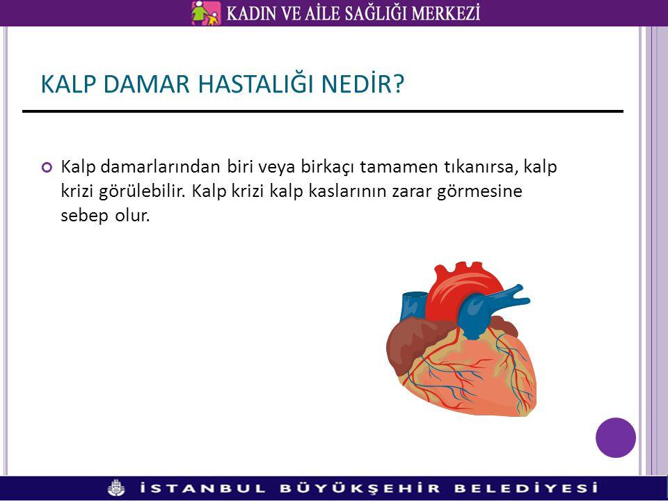 Kalp damarlarından biri veya birkaçı tamamen tıkanırsa, kalp krizi görülebilir. Kalp krizi kalp kaslarının zarar görmesine sebep olur. KALP DAMAR HAST