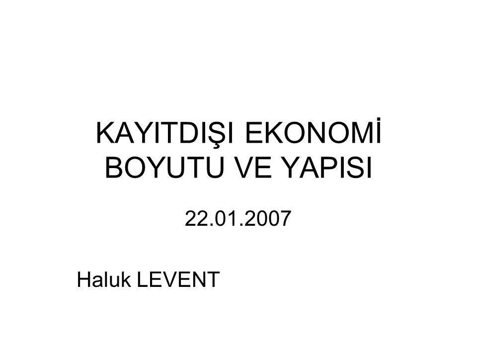 KAYITDIŞI EKONOMİ BOYUTU VE YAPISI 22.01.2007 Haluk LEVENT