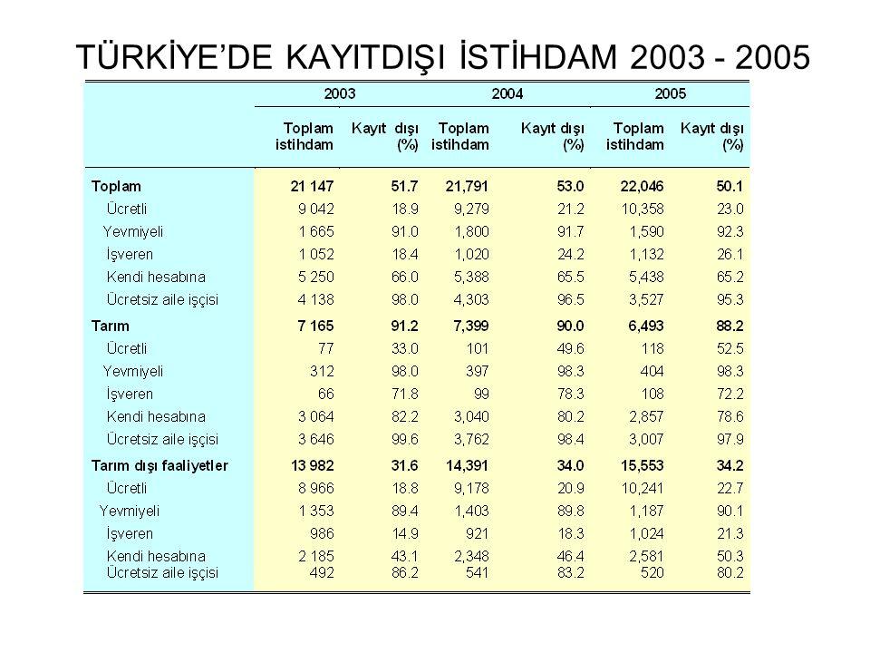 TÜRKİYE'DE KAYITDIŞI İSTİHDAM 2003 - 2005