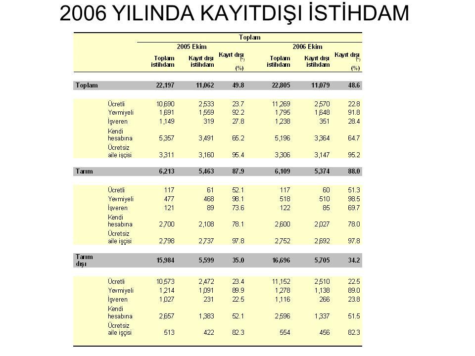 2006 YILINDA KAYITDIŞI İSTİHDAM