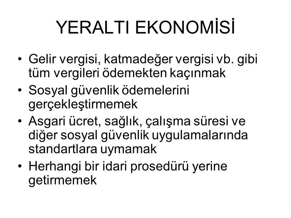 YERALTI EKONOMİSİ Gelir vergisi, katmadeğer vergisi vb.