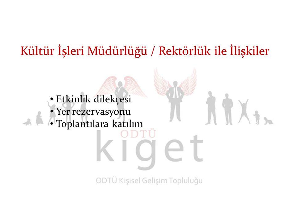 Kültür İşleri Müdürlüğü / Rektörlük ile İlişkiler Etkinlik dilekçesi Yer rezervasyonu Toplantılara katılım