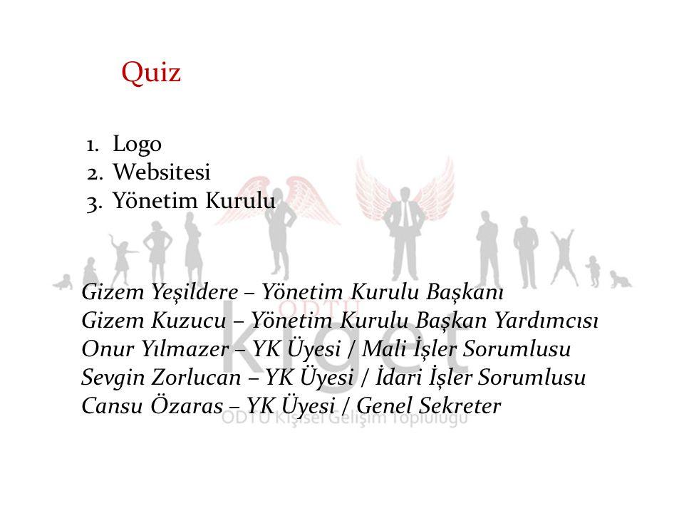 1.Logo 2.Websitesi 3.Yönetim Kurulu Quiz Gizem Yeşildere – Yönetim Kurulu Başkanı Gizem Kuzucu – Yönetim Kurulu Başkan Yardımcısı Onur Yılmazer – YK Ü