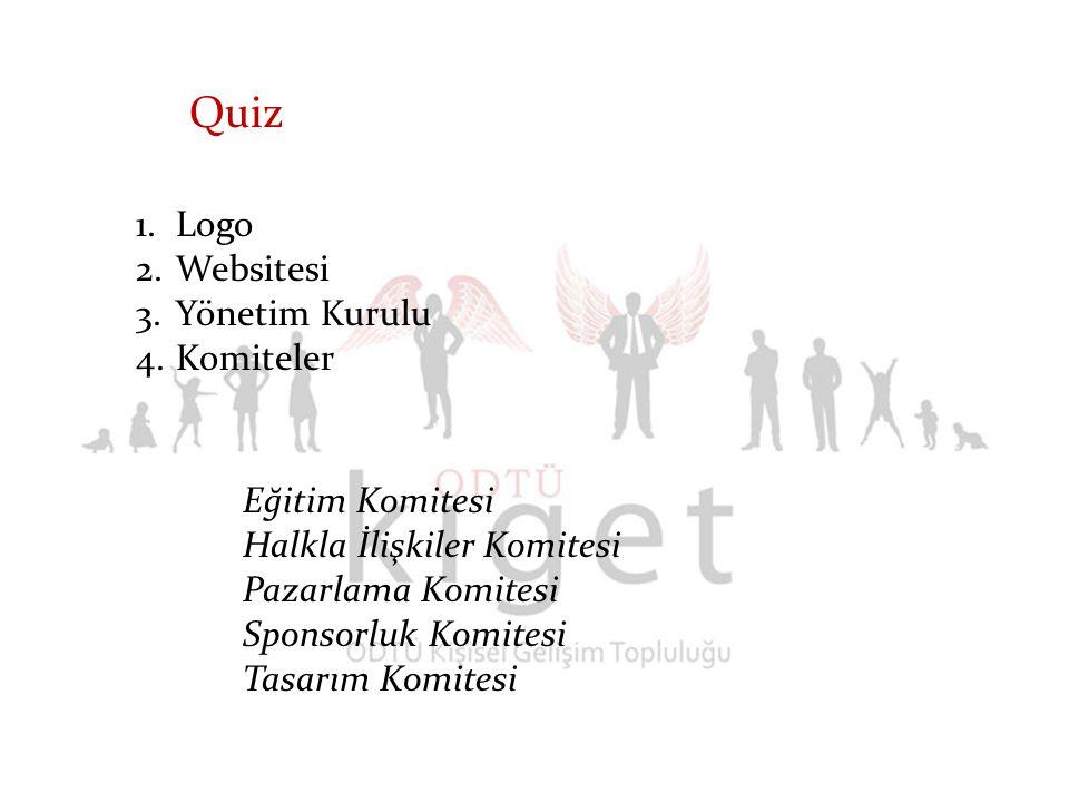 1.Logo 2.Websitesi 3.Yönetim Kurulu 4.Komiteler Quiz Eğitim Komitesi Halkla İlişkiler Komitesi Pazarlama Komitesi Sponsorluk Komitesi Tasarım Komitesi