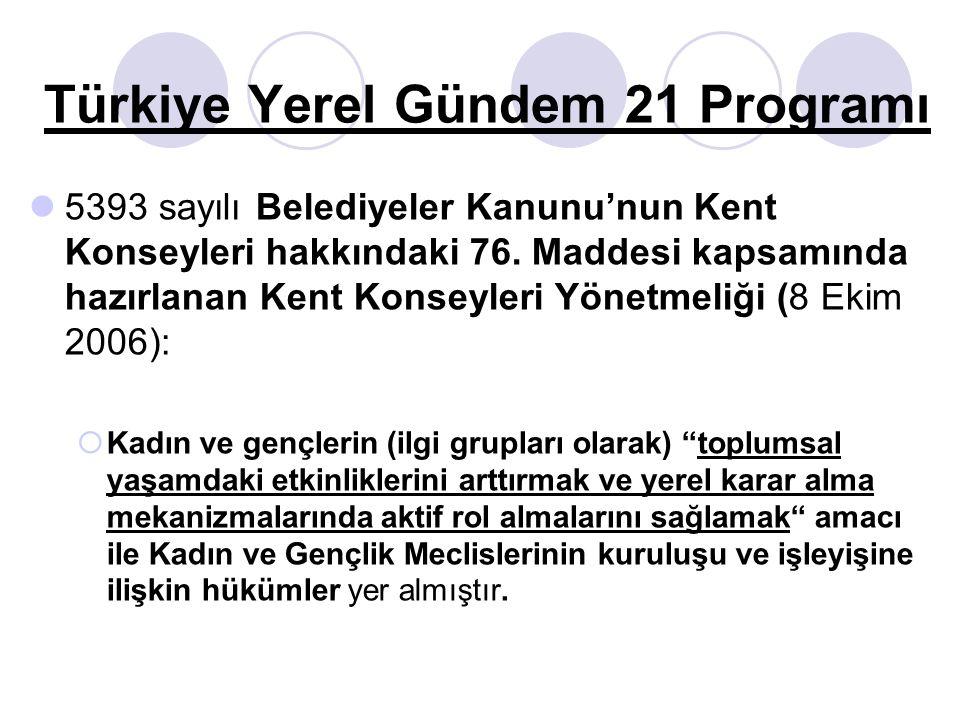 Türkiye Yerel Gündem 21 Programı 5393 sayılı Belediyeler Kanunu'nun Kent Konseyleri hakkındaki 76. Maddesi kapsamında hazırlanan Kent Konseyleri Yönet