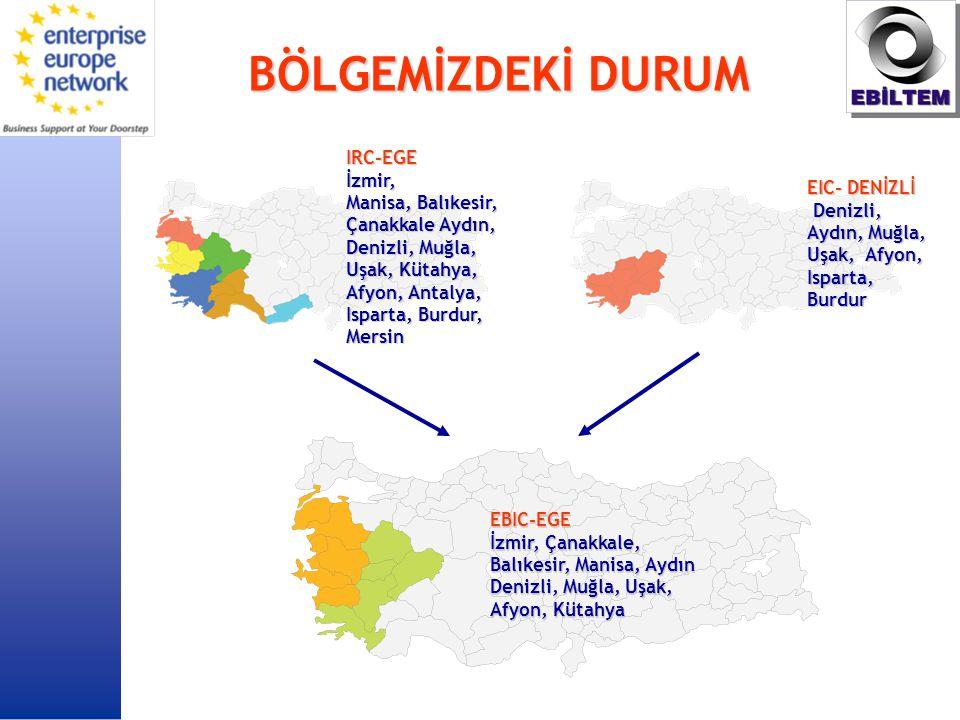 BÖLGEMİZDEKİ DURUM EBIC-EGE İzmir, Çanakkale, Balıkesir, Manisa, Aydın Denizli, Muğla, Uşak, Afyon, Kütahya EIC- DENİZLİ Denizli, Aydın, Muğla, Uşak, Afyon, Isparta, Burdur Denizli, Aydın, Muğla, Uşak, Afyon, Isparta, Burdur IRC-EGEİzmir, Manisa, Balıkesir, Çanakkale Aydın, Denizli, Muğla, Uşak, Kütahya, Afyon, Antalya, Isparta, Burdur, Mersin