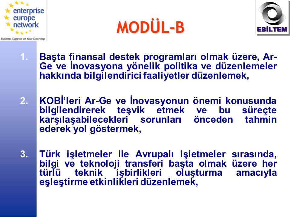 MODÜL-B 1.Başta finansal destek programları olmak üzere, Ar- Ge ve İnovasyona yönelik politika ve düzenlemeler hakkında bilgilendirici faaliyetler düzenlemek, 2.KOBİ'leri Ar-Ge ve İnovasyonun önemi konusunda bilgilendirerek teşvik etmek ve bu süreçte karşılaşabilecekleri sorunları önceden tahmin ederek yol göstermek, 3.Türk işletmeler ile Avrupalı işletmeler sırasında, bilgi ve teknoloji transferi başta olmak üzere her türlü teknik işbirlikleri oluşturma amacıyla eşleştirme etkinlikleri düzenlemek,