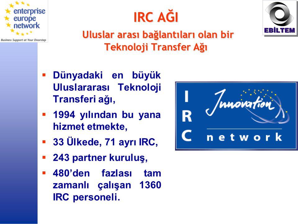 IRC AĞI Uluslar arası bağlantıları olan bir Teknoloji Transfer Ağı  Dünyadaki en büyük Uluslararası Teknoloji Transferi ağı,  1994 yılından bu yana hizmet etmekte,  33 Ülkede, 71 ayrı IRC,  243 partner kuruluş,  480'den fazlası tam zamanlı çalışan 1360 IRC personeli.