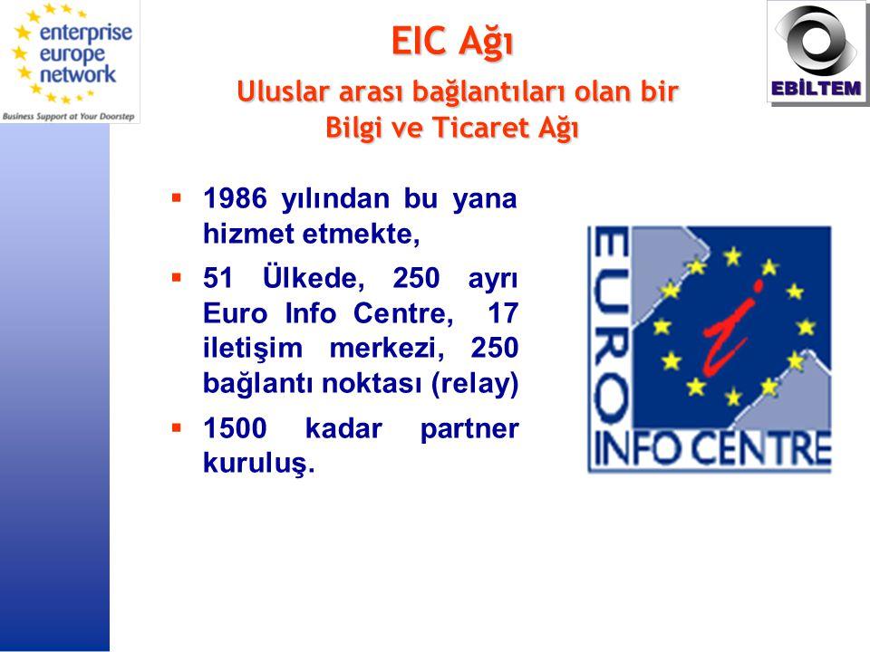 EIC Ağı Uluslar arası bağlantıları olan bir Bilgi ve Ticaret Ağı  1986 yılından bu yana hizmet etmekte,  51 Ülkede, 250 ayrı Euro Info Centre, 17 iletişim merkezi, 250 bağlantı noktası (relay)  1500 kadar partner kuruluş.