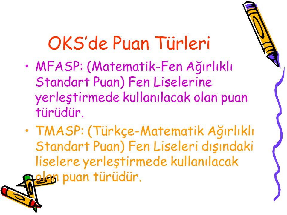 OKS'de Puan Türleri MFASP: (Matematik-Fen Ağırlıklı Standart Puan) Fen Liselerine yerleştirmede kullanılacak olan puan türüdür. TMASP: (Türkçe-Matemat