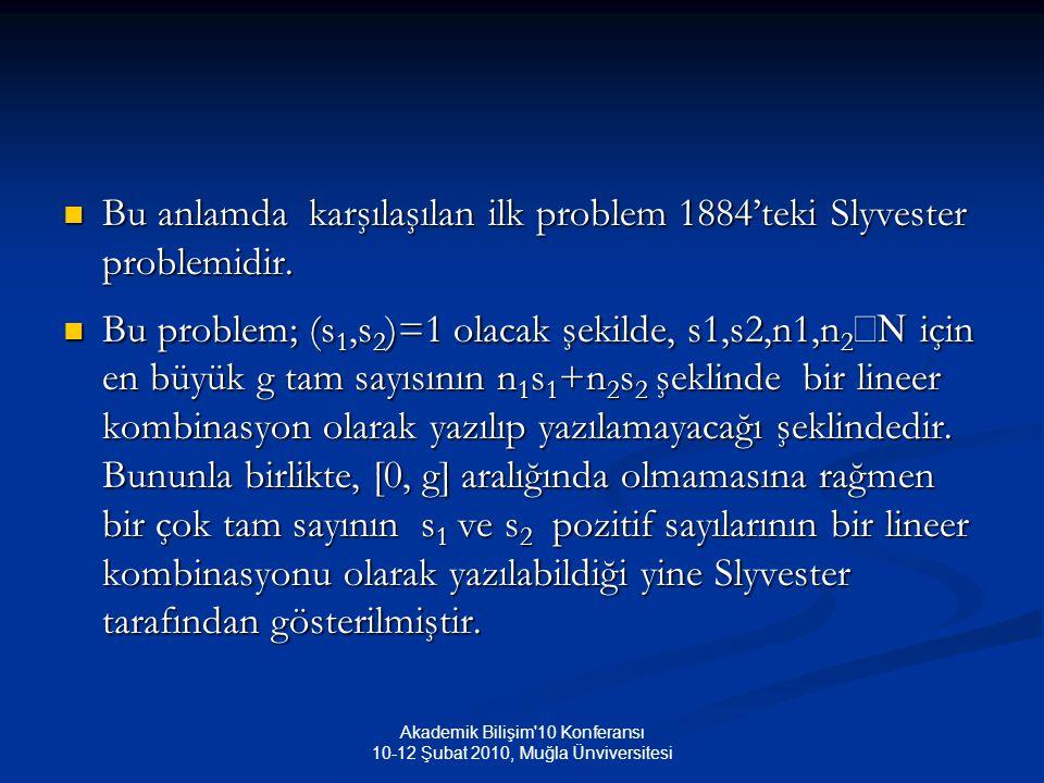 Akademik Bilişim 10 Konferansı 10-12 Şubat 2010, Muğla Ünviversitesi Bu anlamda karşılaşılan ilk problem 1884'teki Slyvester problemidir.
