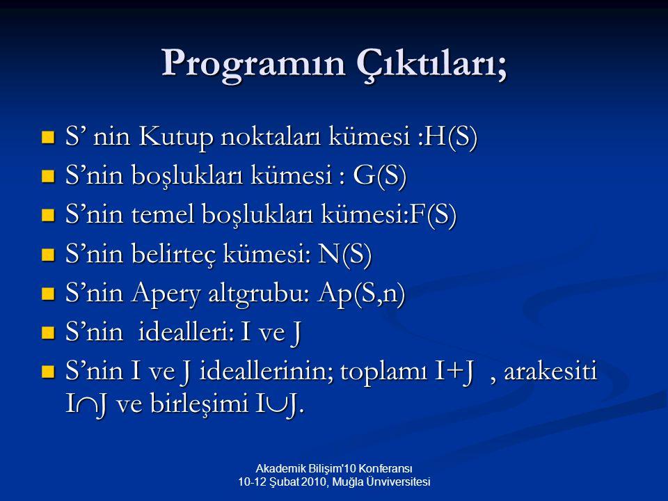 Akademik Bilişim 10 Konferansı 10-12 Şubat 2010, Muğla Ünviversitesi Programın Çıktıları; S' nin Kutup noktaları kümesi :H(S) S' nin Kutup noktaları kümesi :H(S) S'nin boşlukları kümesi : G(S) S'nin boşlukları kümesi : G(S) S'nin temel boşlukları kümesi:F(S) S'nin temel boşlukları kümesi:F(S) S'nin belirteç kümesi: N(S) S'nin belirteç kümesi: N(S) S'nin Apery altgrubu: Ap(S,n) S'nin Apery altgrubu: Ap(S,n) S'nin idealleri: I ve J S'nin idealleri: I ve J S'nin I ve J ideallerinin; toplamı I+J, arakesiti I  J ve birleşimi I  J.