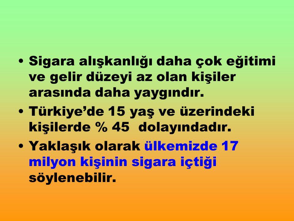 Sigara alışkanlığı daha çok eğitimi ve gelir düzeyi az olan kişiler arasında daha yaygındır. Türkiye'de 15 yaş ve üzerindeki kişilerde % 45 dolayındad