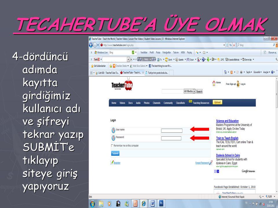 TECAHERTUBE'A ÜYE OLMAK 4-dördüncü adımda kayıtta girdiğimiz kullanıcı adı ve şifreyi tekrar yazıp SUBMİT'e tıklayıp siteye giriş yapıyoruz