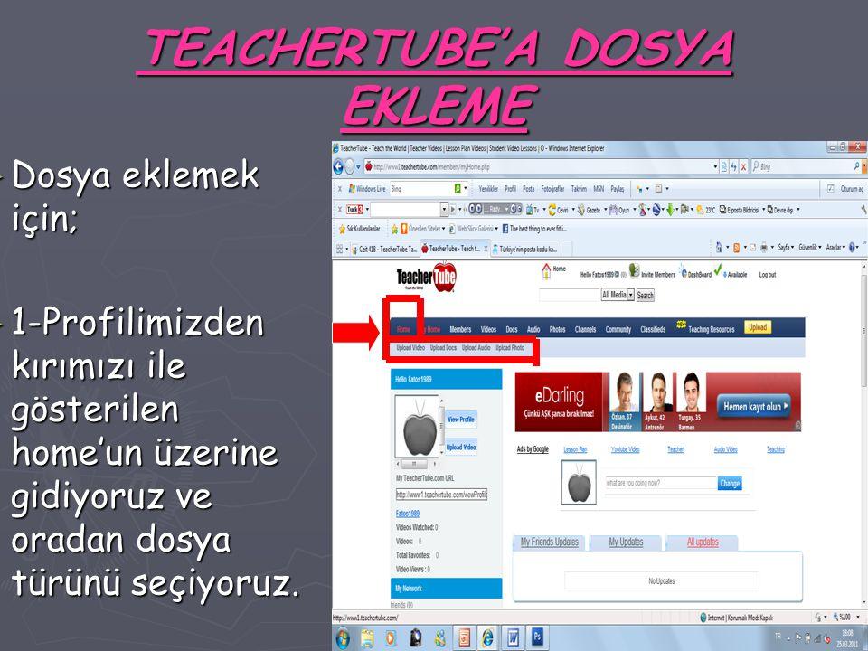 TEACHERTUBE'A DOSYA EKLEME ► Dosya eklemek için; ► 1-Profilimizden kırımızı ile gösterilen home'un üzerine gidiyoruz ve oradan dosya türünü seçiyoruz.