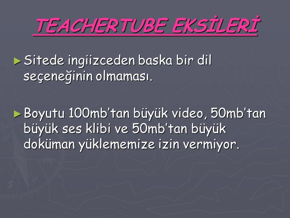 TEACHERTUBE EKSİLERİ ► Sitede ingiizceden baska bir dil seçeneğinin olmaması.