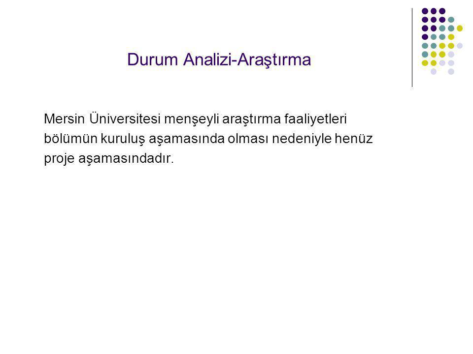 Durum Analizi-Araştırma Mersin Üniversitesi menşeyli araştırma faaliyetleri bölümün kuruluş aşamasında olması nedeniyle henüz proje aşamasındadır.