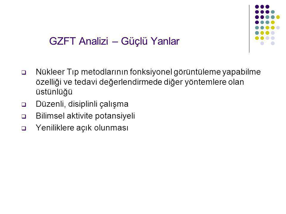 GZFT Analizi – Güçlü Yanlar  Nükleer Tıp metodlarının fonksiyonel görüntüleme yapabilme özelliği ve tedavi değerlendirmede diğer yöntemlere olan üstü