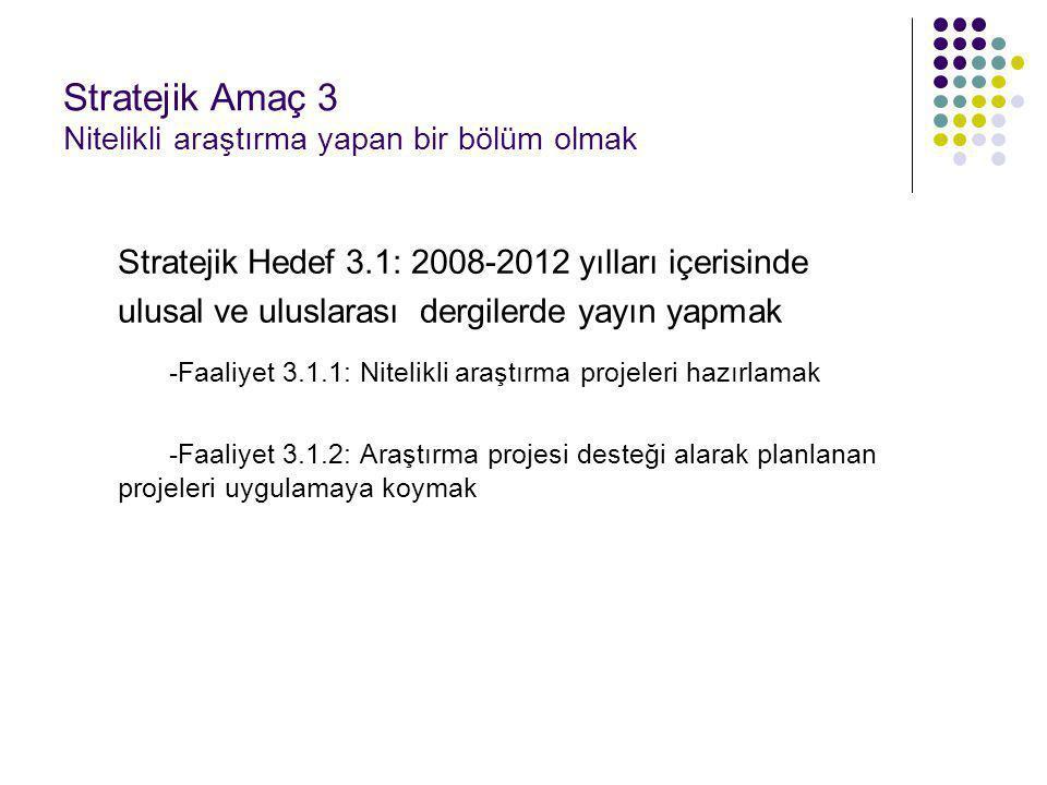 Stratejik Amaç 3 Nitelikli araştırma yapan bir bölüm olmak Stratejik Hedef 3.1: 2008-2012 yılları içerisinde ulusal ve uluslarası dergilerde yayın yap