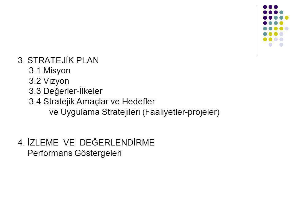 3. STRATEJİK PLAN 3.1 Misyon 3.2 Vizyon 3.3 Değerler-İlkeler 3.4 Stratejik Amaçlar ve Hedefler ve Uygulama Stratejileri (Faaliyetler-projeler) 4. İZLE