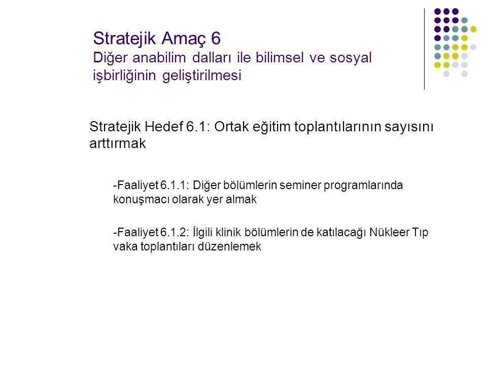 Stratejik Amaç 6 Diğer anabilim dalları ile bilimsel ve sosyal işbirliğinin geliştirilmesi Stratejik Hedef 6.1: Ortak eğitim toplantılarının sayısını