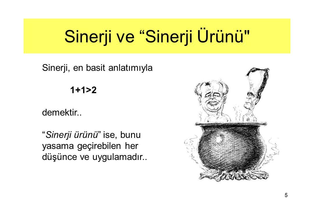 5 Sinerji ve Sinerji Ürünü Sinerji, en basit anlatımıyla 1+1>2 demektir..