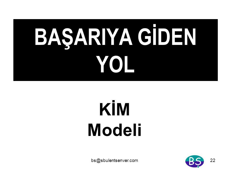 bs@sbulentsenver.com22 BAŞARIYA GİDEN YOL KİM Modeli