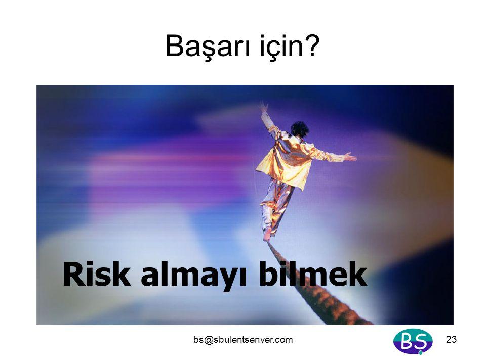 bs@sbulentsenver.com23 Başarı için? Risk almayı bilmek