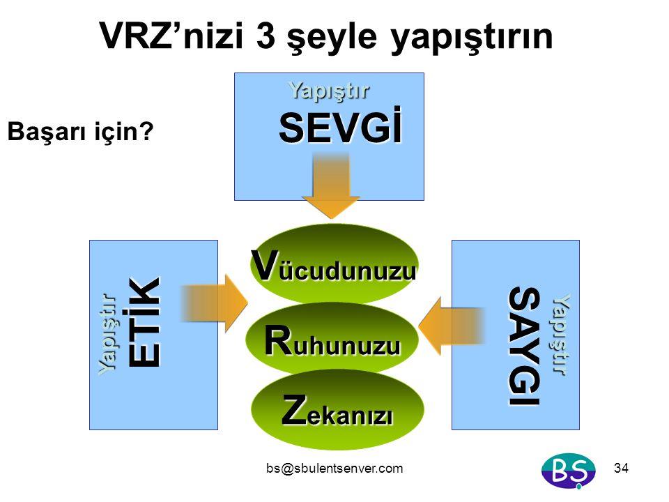 bs@sbulentsenver.com34 V ücudunuzu Yapıştır SEVGİ VRZ'nizi 3 şeyle yapıştırın R uhunuzu Z ekanızı Yapıştır SAYGI Yapıştır ETİK Başarı için