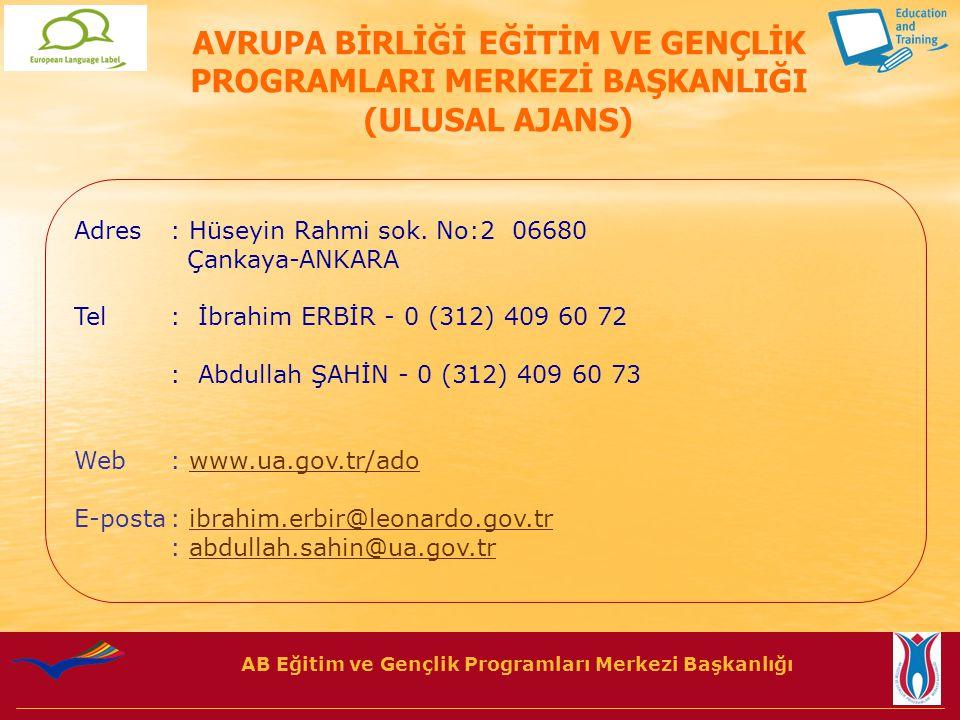 AB Eğitim ve Gençlik Programları Merkezi Başkanlığı Adres: Hüseyin Rahmi sok.