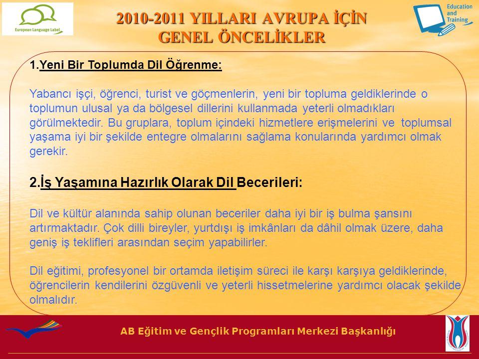 AB Eğitim ve Gençlik Programları Merkezi Başkanlığı Türkiye için 2010 Yılı Avrupa Dil Ödülü Öncelikleri 2010 yılı Türkiye'nin ulusal öncelikleri şunlardır: 1.
