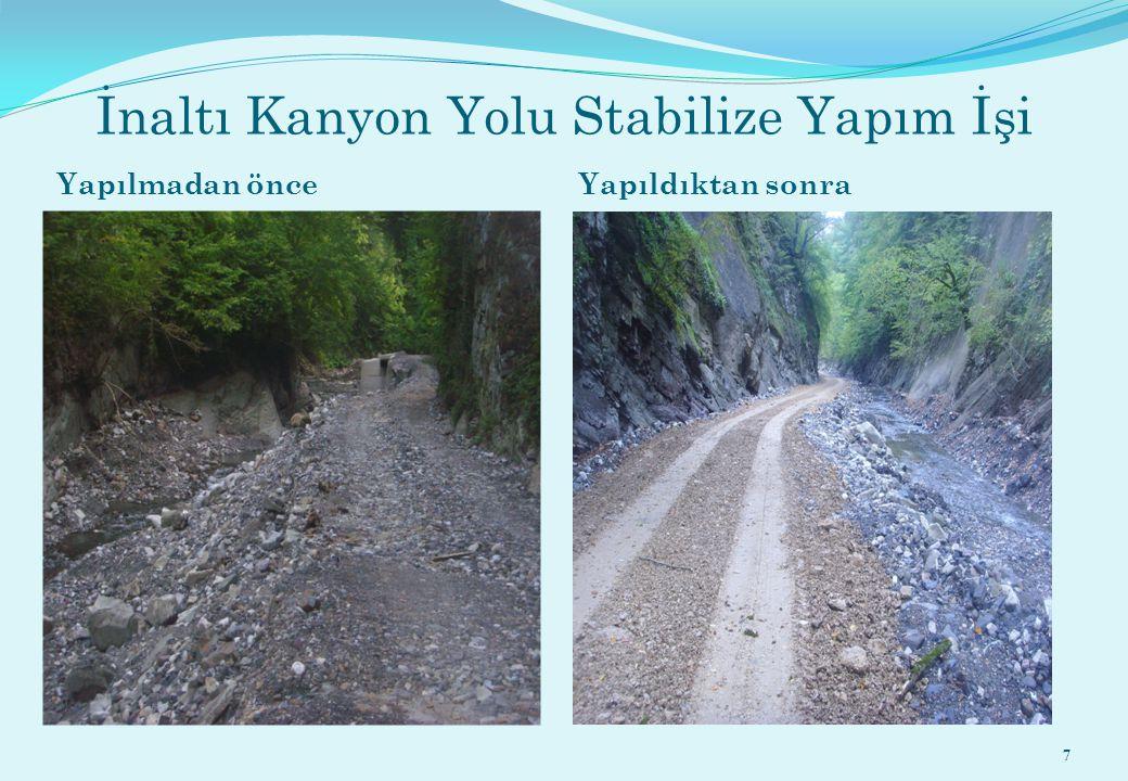 İnaltı Kanyon Yolu Stabilize Yapım İşi Yapılmadan önce Yapıldıktan sonra 7