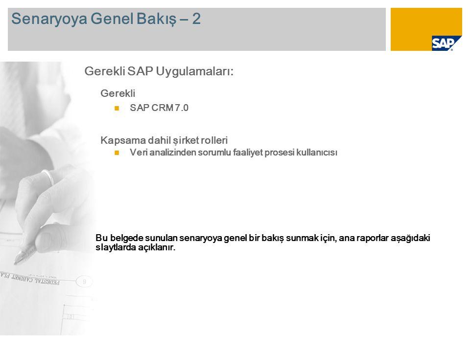 Senaryoya Genel Bakış – 2 Gerekli SAP CRM 7.0 Kapsama dahil şirket rolleri Veri analizinden sorumlu faaliyet prosesi kullanıcısı Gerekli SAP Uygulamaları: Bu belgede sunulan senaryoya genel bir bakış sunmak için, ana raporlar aşağıdaki slaytlarda açıklanır.