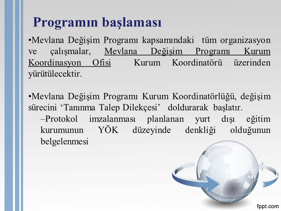 Programın başlaması Mevlana Değişim Programı kapsamındaki tüm organizasyon ve çalışmalar, Mevlana Değişim Programı Kurum Koordinasyon Ofisi Kurum Koordinatörü üzerinden yürütülecektir.