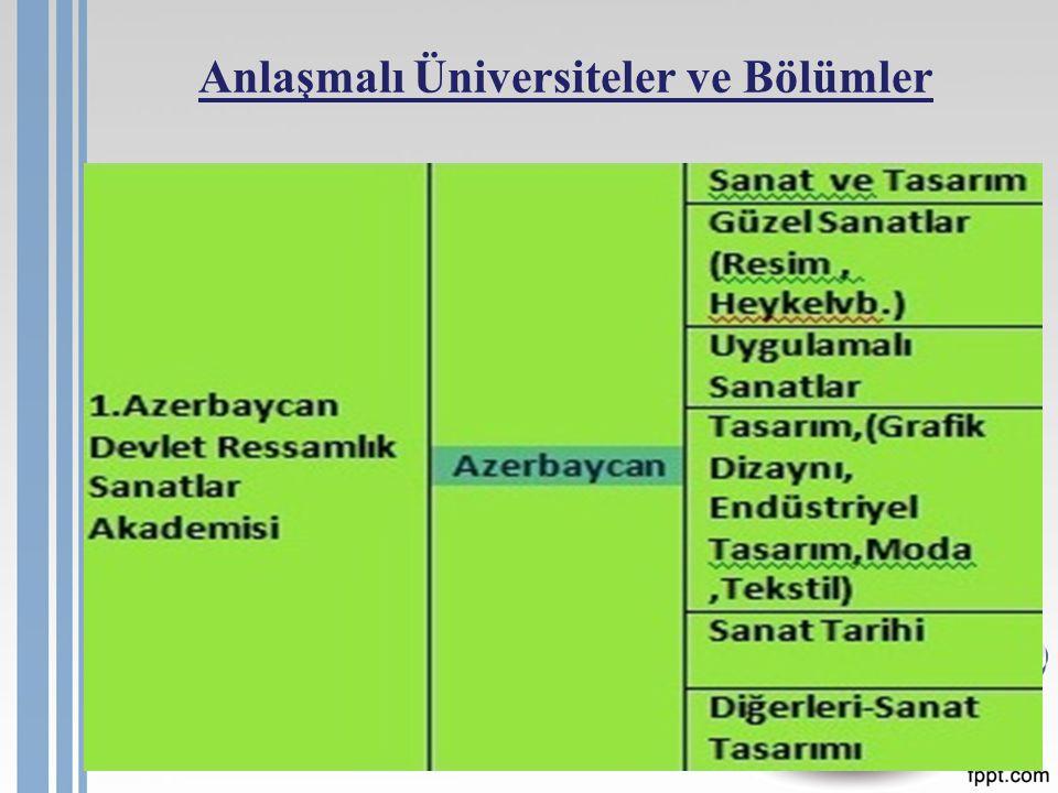 Anlaşmalı Üniversiteler ve Bölümler