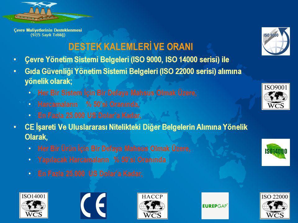 DESTEK KALEMLERİ VE ORANI Çevre Yönetim Sistemi Belgeleri (ISO 9000, ISO 14000 serisi) ile Gıda Güvenliği Yönetim Sistemi Belgeleri (ISO 22000 serisi)