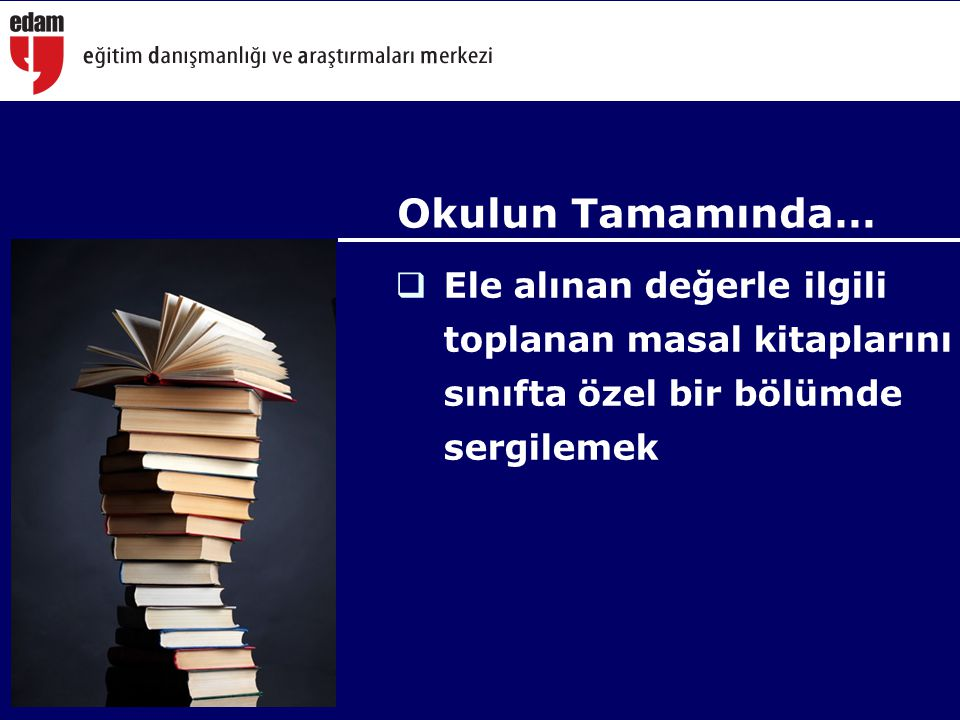  Ele alınan değerle ilgili toplanan masal kitaplarını sınıfta özel bir bölümde sergilemek Okulun Tamamında…