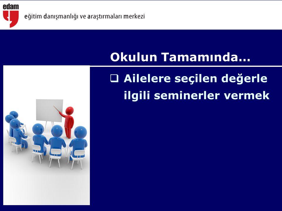  Ailelere seçilen değerle ilgili seminerler vermek Okulun Tamamında…