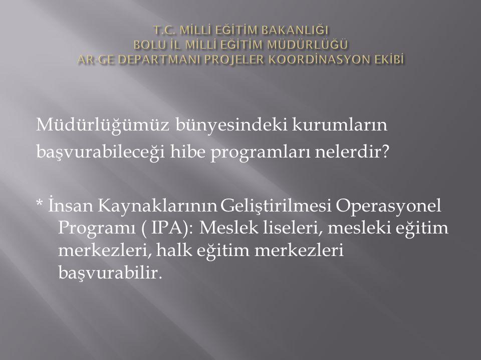 Müdürlüğümüz bünyesindeki kurumların başvurabileceği hibe programları nelerdir? * İnsan Kaynaklarının Geliştirilmesi Operasyonel Programı ( IPA): Mesl
