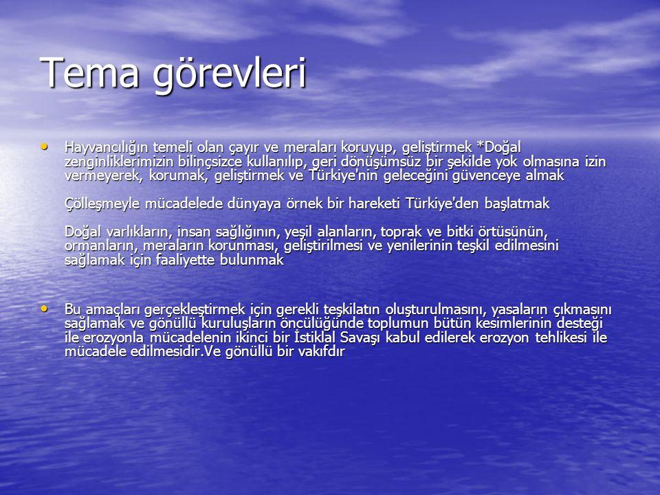 Tema görevleri Hayvancılığın temeli olan çayır ve meraları koruyup, geliştirmek *Doğal zenginliklerimizin bilinçsizce kullanılıp, geri dönüşümsüz bir şekilde yok olmasına izin vermeyerek, korumak, geliştirmek ve Türkiye nin geleceğini güvenceye almak Çölleşmeyle mücadelede dünyaya örnek bir hareketi Türkiye den başlatmak Doğal varlıkların, insan sağlığının, yeşil alanların, toprak ve bitki örtüsünün, ormanların, meraların korunması, geliştirilmesi ve yenilerinin teşkil edilmesini sağlamak için faaliyette bulunmak Hayvancılığın temeli olan çayır ve meraları koruyup, geliştirmek *Doğal zenginliklerimizin bilinçsizce kullanılıp, geri dönüşümsüz bir şekilde yok olmasına izin vermeyerek, korumak, geliştirmek ve Türkiye nin geleceğini güvenceye almak Çölleşmeyle mücadelede dünyaya örnek bir hareketi Türkiye den başlatmak Doğal varlıkların, insan sağlığının, yeşil alanların, toprak ve bitki örtüsünün, ormanların, meraların korunması, geliştirilmesi ve yenilerinin teşkil edilmesini sağlamak için faaliyette bulunmak Bu amaçları gerçekleştirmek için gerekli teşkilatın oluşturulmasını, yasaların çıkmasını sağlamak ve gönüllü kuruluşların öncülüğünde toplumun bütün kesimlerinin desteği ile erozyonla mücadelenin ikinci bir İstiklal Savaşı kabul edilerek erozyon tehlikesi ile mücadele edilmesidir.Ve gönüllü bir vakıfdır Bu amaçları gerçekleştirmek için gerekli teşkilatın oluşturulmasını, yasaların çıkmasını sağlamak ve gönüllü kuruluşların öncülüğünde toplumun bütün kesimlerinin desteği ile erozyonla mücadelenin ikinci bir İstiklal Savaşı kabul edilerek erozyon tehlikesi ile mücadele edilmesidir.Ve gönüllü bir vakıfdır